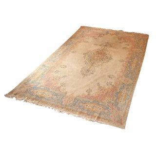 "Hand-Knotted Pastel Wool Vintage Persian Rug, Kerman Pattern - 10'5"" x 16'5"""