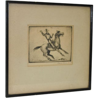 Orson Linn 1940's Cowboy & Horse Etching