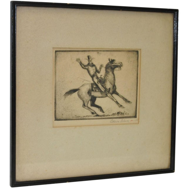 Image of Orson Linn 1940's Cowboy & Horse Etching