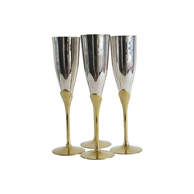 Image of Silver & Brass Champagne Flutes - Set of 4