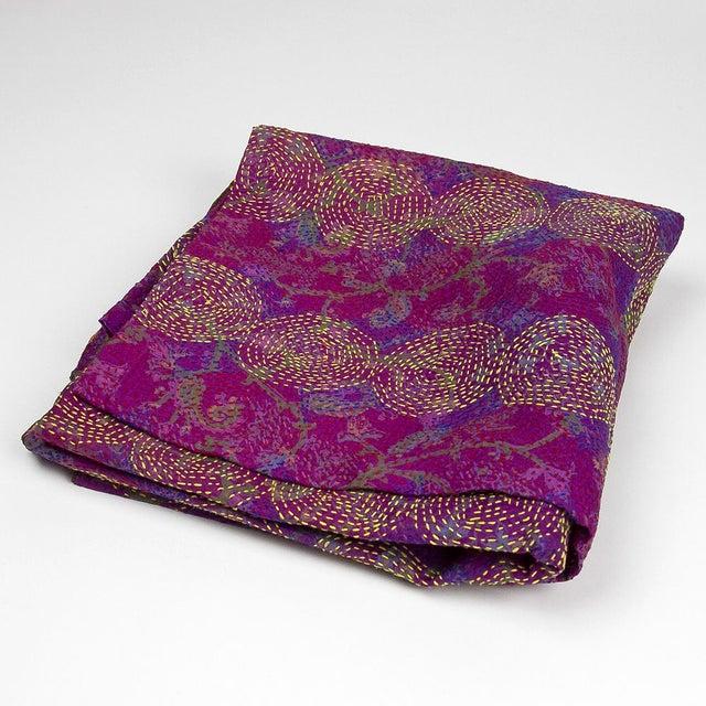 Lavender Chakra Silk Kantha Throw - Image 5 of 5