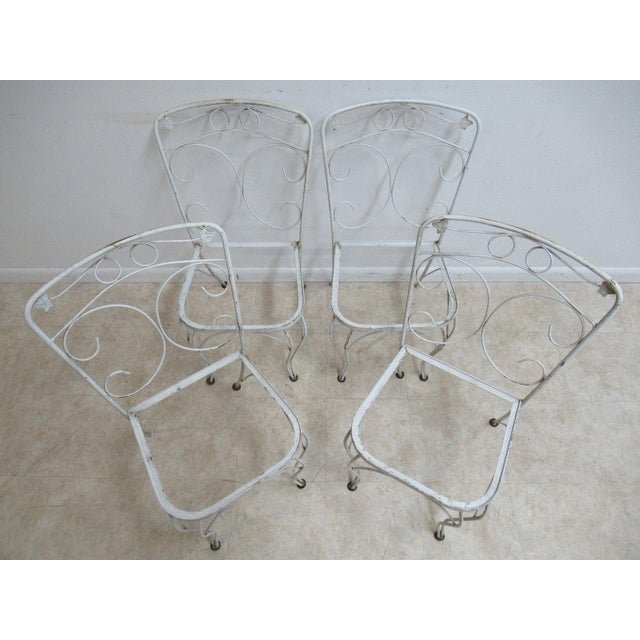 Vintage Woodard Ivy Iron Outdoor Patio Side Chairs - A Pair - Image 2 of 5