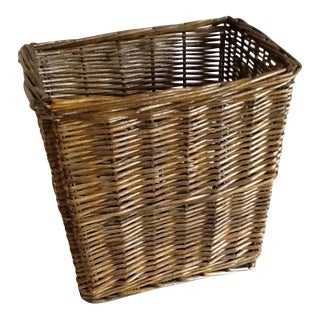 Vintage Brown Wood Wicker Wastebasket