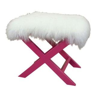 Pink X-Shape Sheepskin Benches - A Pair