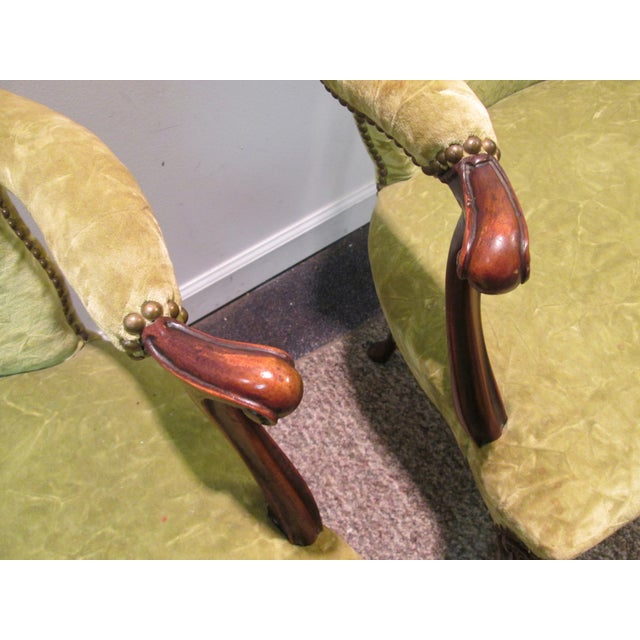 Matching Upholstered French Arm Chairs - Pair - Image 8 of 11