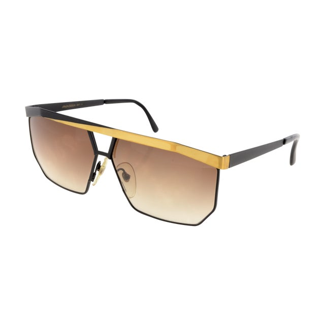 Image of Maga Black & Gold Angular Sunglasses