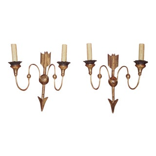 19th Century Directoire Style Gilt Wood Sconces - Pair