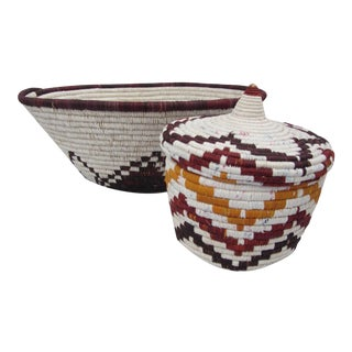 Brown & White African Baskets - Set of 2
