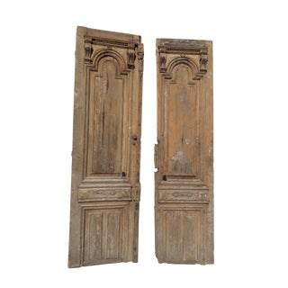 Antique European Architectural French Exterior Carved Mediterranean Country Farmhouse Doors - a Pair