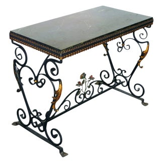 Italian Wrought Iron Console Table with St Laurent Marble Top