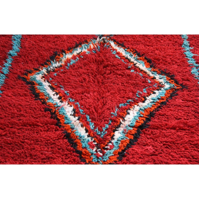 Red Moroccan Azilal Rug, 6'6'' X 3'8''