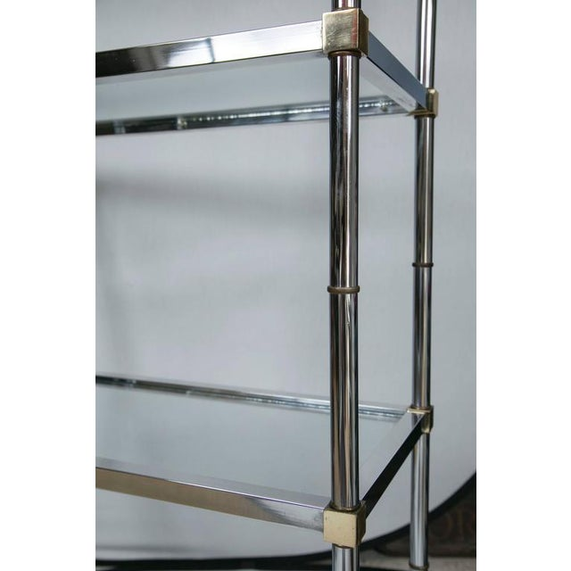Maison Jensen Style Brass and Chrome Etagere - Image 5 of 7