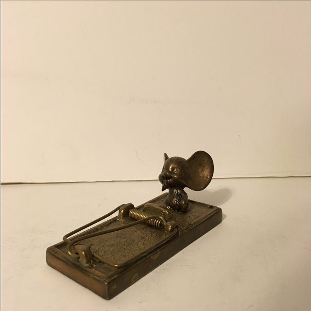 Vintage 1980 Brass Mouse with Trap - Image 2 of 6