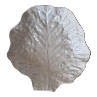 "White 13"" Cabbage Leaf Majolica Bowl-Portugal"