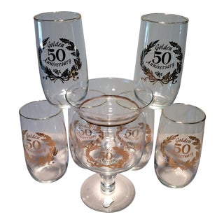 """Golden 50 Anniversary"" Mid-Century Glasses & Decanter - Set of 6"