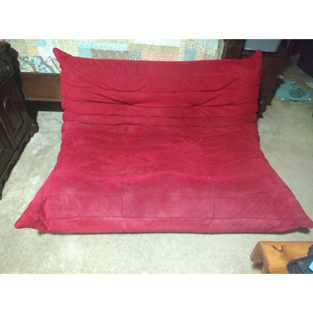 Ligne Roset Togo Red Suede Loveseat Couch - Image 2 of 11