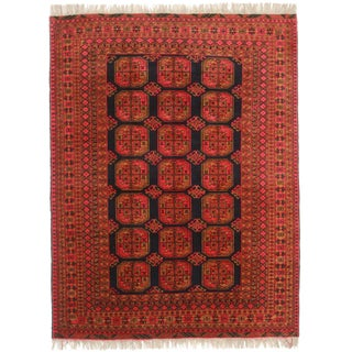 Hand-Knotted Afghan Turkman Rug - 5′11″ × 8′9″