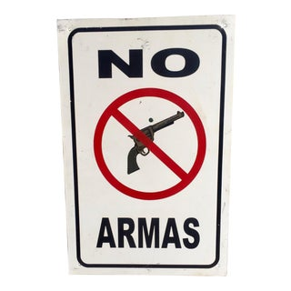 """Vintage """"No Armas"""" Sign Ranch Mancave Decor"""