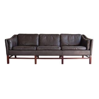 Georg Thams Down-Filled Leather & Rosewood Danish Sofa