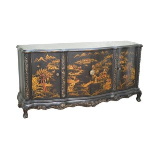 Chinoiserie Painted Ebonized Black Lacquer Finish Cabinet Sideboard