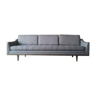 Mid-Century Style Custom Sofa With Walnut Trim