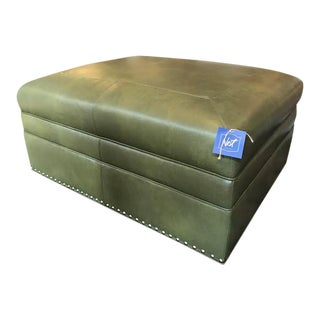 Sherrill Motioncraft Green Leather Ottoman