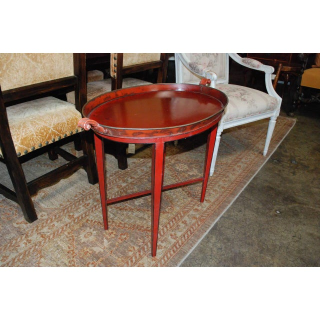 English Red Oval Table Tray - Image 4 of 8