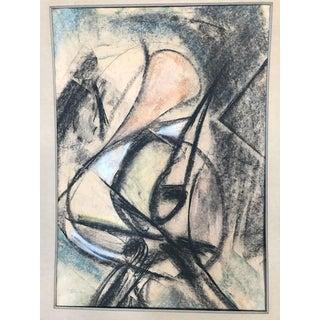 Original Vintage Charcoal Abstract Drawing