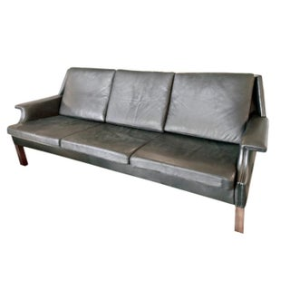 Black Leather Mid-Century Modern Sofa