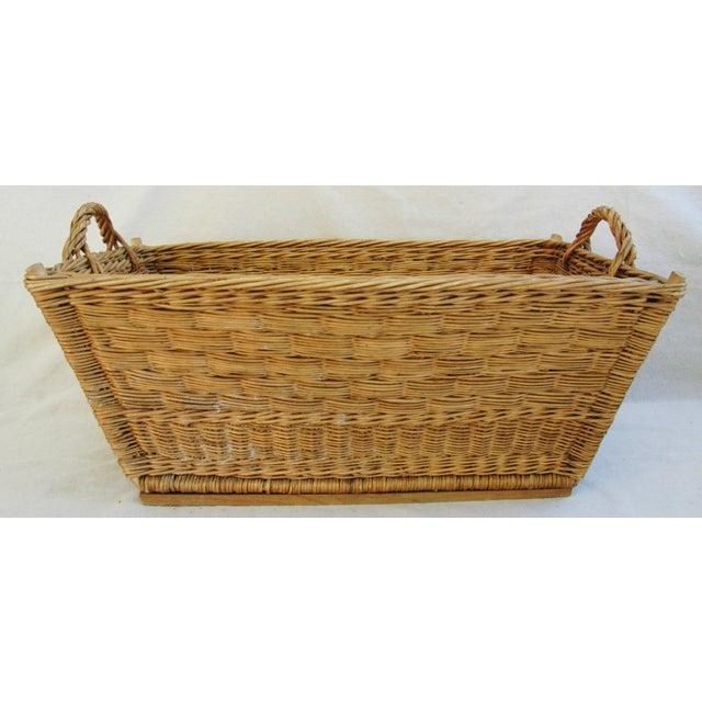 Early 1900s French Willow and Wicker Market Basket - Image 7 of 9