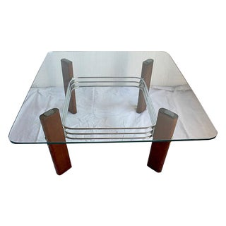 Bauhaus Redwood and Chrome Coffee Table by Stendig