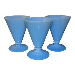 Tiffany Blue Opaline Cordial Glasses - Set of 3