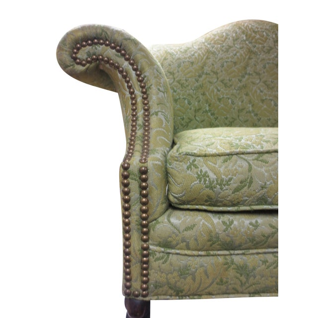 Lime Green Loveseat on Carved Stretchers - Image 5 of 10