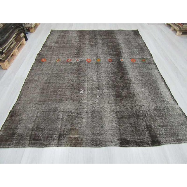 Embroidered Black Goat Hair Turkish Kilim Rug