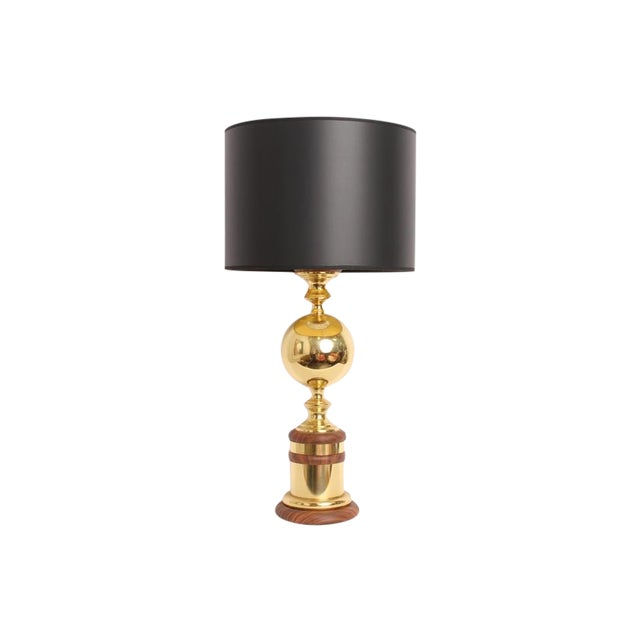 Image of Vintage Mid-Century Gold Metal Table Lamp