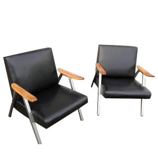 Mid-Century Low Vinyl Black Chairs - A Pair