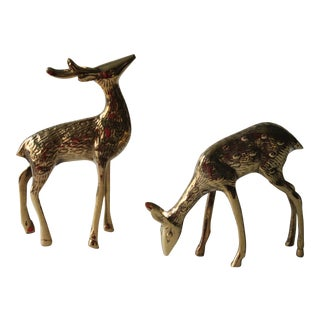 Vintage Brass Deer - A Pair