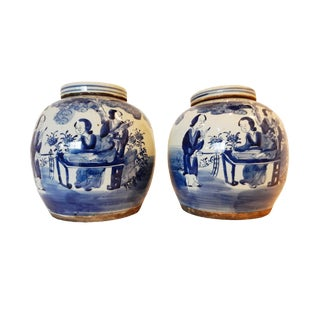 B & W Lidded Ginger Jars - A Pair