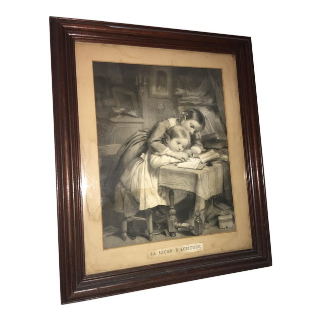 """19th Century """"The Writing Lesson"""" Lithograph - Image 1 of 11"""