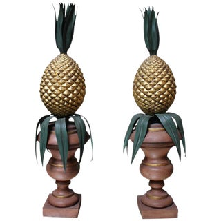 Pair of Italian Painted and Gilded Tole Urns with Pineapples