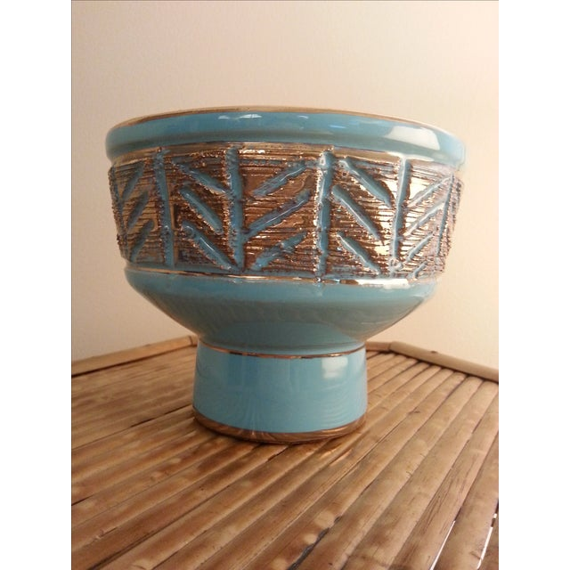 Vintage Italian Blue & Gold Footed Bowl - Image 2 of 8