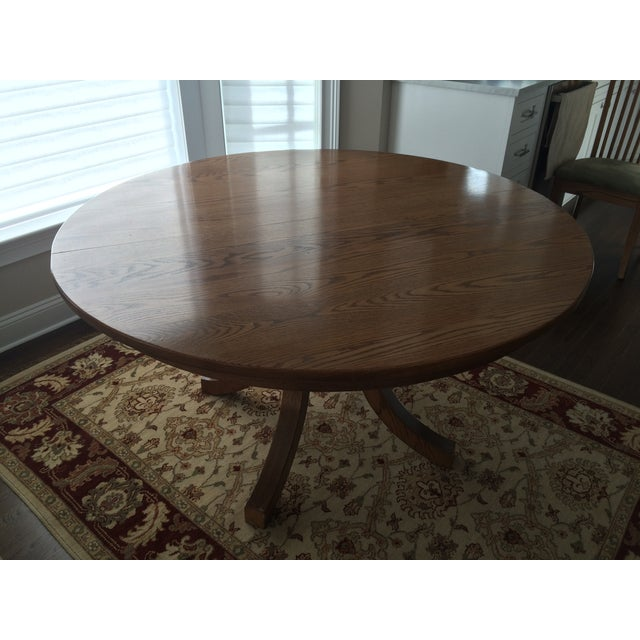 Round Oak Dining Set with 2 Leaves & 6 Chairs - Image 3 of 9