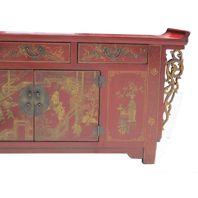 Chinese Vintage Red & Gold Altar Buffet Table - Image 6 of 6