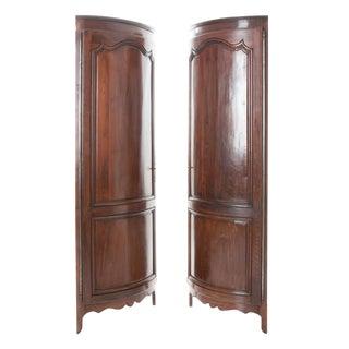 French 19th Century Pair of Louis XV Walnut Demi-Lune Corner Cabinets