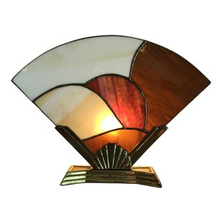 Brass and Stained Glass Accent Lamp