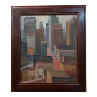 Anders Aldrin -New York Skyline - 1929 Oil painting -Fauvism