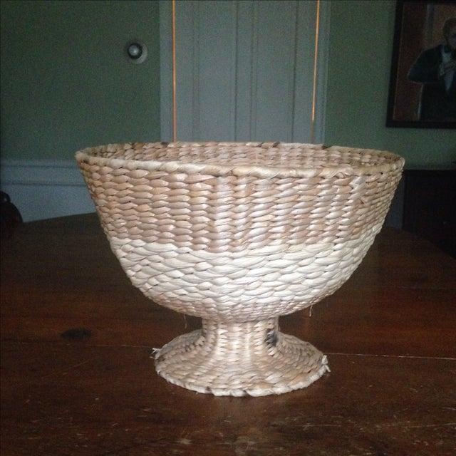 Vintage Natural Straw Pedestal Bowl - Image 3 of 11