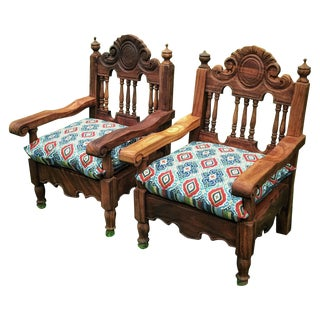 Hand Carved Mexican Throne Chairs - Pair
