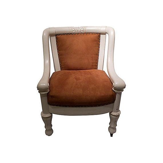 Antique Edwardian Style Brown Suede Chair Chairish