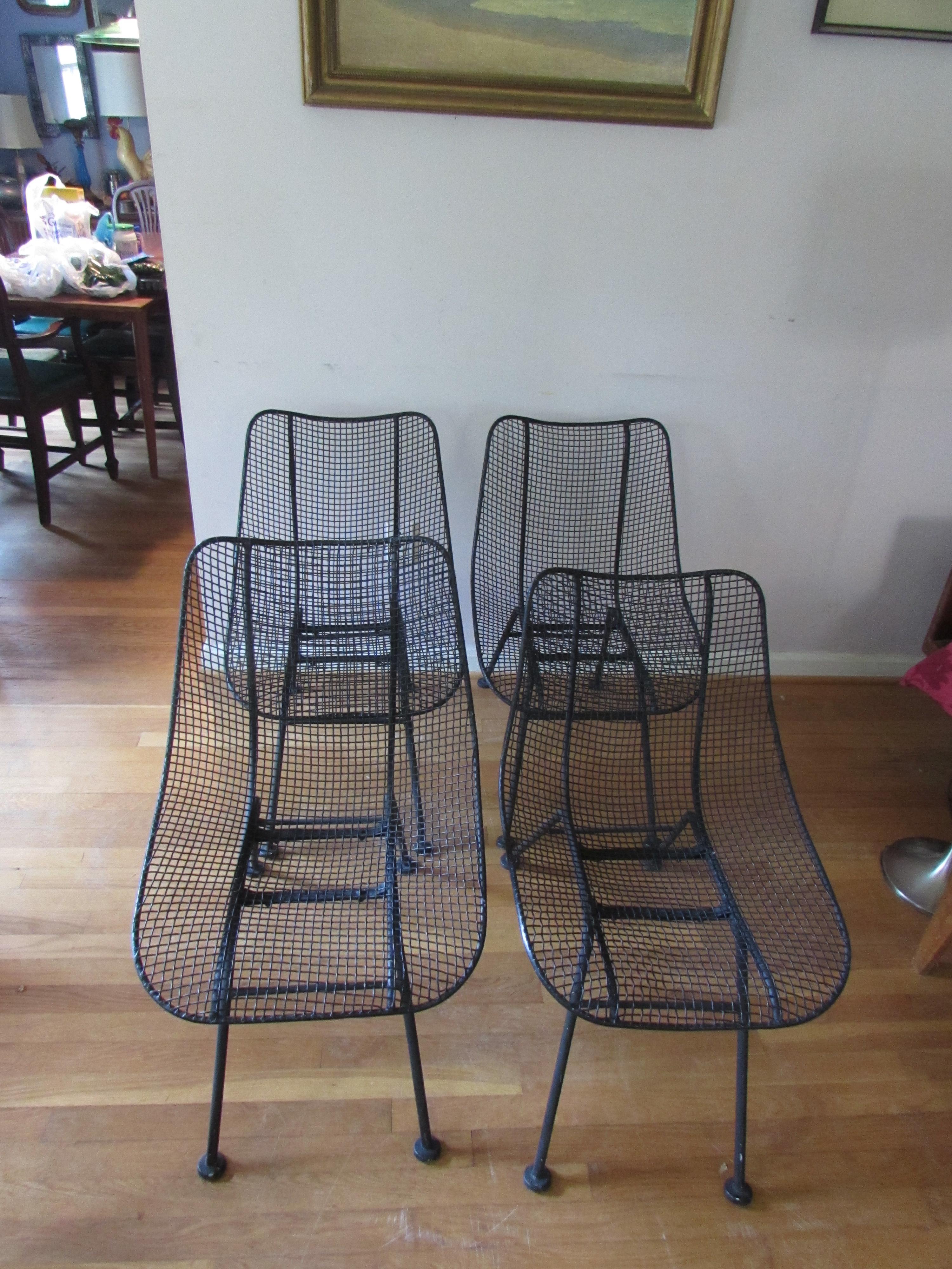 Vintage Mid Century Modern Russell Woodard Sculptura Wire Mesh Chairs   Set  Of 4